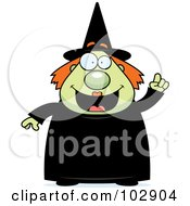 Royalty Free RF Clipart Illustration Of A Chubby Green Witch Holding Up A Finger by Cory Thoman