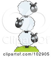 Royalty Free RF Clipart Illustration Of A Pile Of Balanced Sheep by Cory Thoman