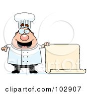 Royalty Free RF Clipart Illustration Of A Chubby Culinary Chef Holding A Blank Scroll Menu