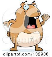 Royalty Free RF Clipart Illustration Of A Happy Hamster Waving by Cory Thoman