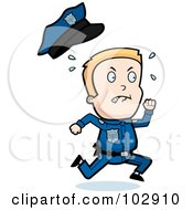 Royalty Free RF Clipart Illustration Of A Little Police Man Running And Sweating by Cory Thoman