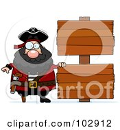 Royalty Free RF Clipart Illustration Of A Chubby Pirate By Double Wooden Signs by Cory Thoman