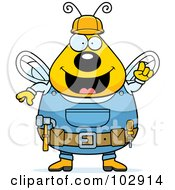Royalty Free RF Clipart Illustration Of A Chubby Worker Bee With His Gear by Cory Thoman
