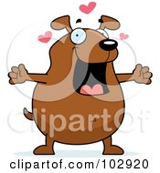 Royalty Free RF Clipart Illustration Of A Loving Dog With Open Arms