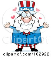 Royalty Free RF Clipart Illustration Of A Chubby Uncle Sam With Hearts