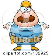 Royalty Free RF Clipart Illustration Of A Chubby Construction Worker by Cory Thoman