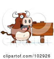 Royalty Free RF Clipart Illustration Of A Happy Bull Standing By A Wood Sign by Cory Thoman