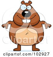 Royalty Free RF Clipart Illustration Of A Standing Chubby Beaver by Cory Thoman