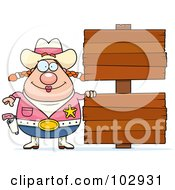 Royalty Free RF Clipart Illustration Of A Chubby Cowgirl By Double Wooden Signs by Cory Thoman