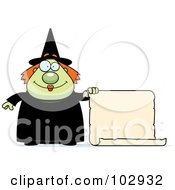 Royalty Free RF Clipart Illustration Of A Chubby Witch Holding A Blank Scroll Sign by Cory Thoman