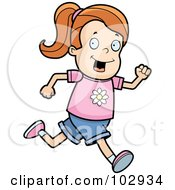 Royalty Free RF Clipart Illustration Of A Running Red Haired Girl