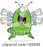 Royalty Free RF Clipart Illustration Of A Happy Running Dragonfly by Cory Thoman