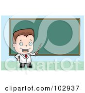 Royalty Free RF Clipart Illustration Of A Little Teacher Boy Pointing To A Chalk Board by Cory Thoman