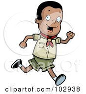 Royalty Free RF Clipart Illustration Of A Black Scout Boy Running by Cory Thoman
