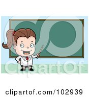 Royalty Free RF Clipart Illustration Of A Little Teacher Girl Pointing To A Chalk Board by Cory Thoman