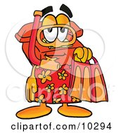 Clipart Picture Of A Red Telephone Mascot Cartoon Character In Orange And Red Snorkel Gear