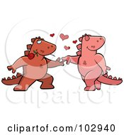 Royalty Free RF Clipart Illustration Of A Romantic Dinosaur Couple Dancing