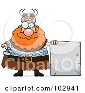 Royalty Free RF Clipart Illustration Of A Chubby Viking Man With A Stone Sign by Cory Thoman