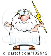Royalty Free RF Clipart Illustration Of A Chubby Greek Man Holding Lightning by Cory Thoman