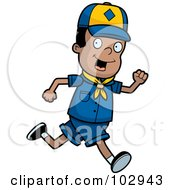 Royalty Free RF Clipart Illustration Of A Black Cub Scout Boy Running