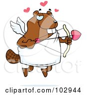 Royalty Free RF Clipart Illustration Of A Cupid Beaver Shooting Arrows by Cory Thoman