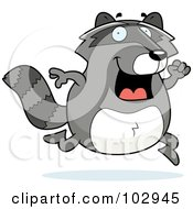 Royalty Free RF Clipart Illustration Of A Happy Running Raccoon by Cory Thoman