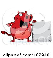 Royalty Free RF Clipart Illustration Of A Red Devil Holding A Stone Sign