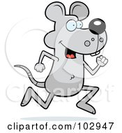 Royalty Free RF Clipart Illustration Of A Running Gray Mouse by Cory Thoman