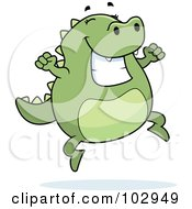 Royalty Free RF Clipart Illustration Of A Happy Jumping Lizard