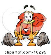 Clipart Picture Of A Red Telephone Mascot Cartoon Character Lifting A Heavy Barbell
