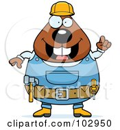 Royalty Free RF Clipart Illustration Of A Chubby Beaver Construction Worker
