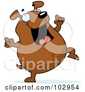 Royalty Free RF Clipart Illustration Of A Happy Chubby Brown Dog Dancing