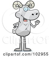 Royalty Free RF Clipart Illustration Of A Friendly Waving Ram by Cory Thoman
