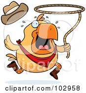 Royalty Free RF Clipart Illustration Of A Rodeo Chicken Swinging A Lasso by Cory Thoman