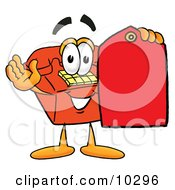 Clipart Picture Of A Red Telephone Mascot Cartoon Character Holding A Red Sales Price Tag