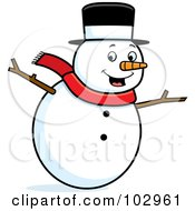 Royalty Free RF Clipart Illustration Of A Happy Snowman Holding His Stick Arms Out by Cory Thoman