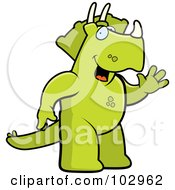 Royalty Free RF Clipart Illustration Of A Friendly Triceratops Dinosaur Waving by Cory Thoman