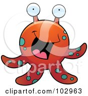 Royalty Free RF Clipart Illustration Of A Tentacled Sea Creature With Big Eyes