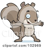 Royalty Free RF Clipart Illustration Of A Happy Squirrel With Open Arms by Cory Thoman