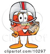 Clipart Picture Of A Red Telephone Mascot Cartoon Character In A Helmet Holding A Football by Toons4Biz