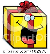 Royalty Free RF Clipart Illustration Of A Happy Smiling Present