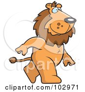 Royalty Free RF Clipart Illustration Of A Happy Lion Walking
