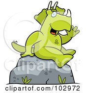 Royalty Free RF Clipart Illustration Of A Sitting And Waving Triceratops by Cory Thoman