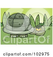 Royalty Free RF Clipart Illustration Of A Grumpy Old Tortoise Near Plants by Cory Thoman