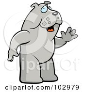 Royalty Free RF Clipart Illustration Of A Standing And Waving Bulldog by Cory Thoman