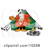 Clipart Picture Of A Red Telephone Mascot Cartoon Character Camping With A Tent And Fire