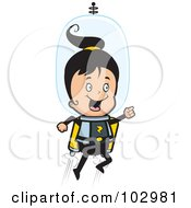 Royalty Free RF Clipart Illustration Of A Happy Girl Using A Jet Pack In Space by Cory Thoman