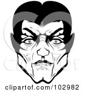 Royalty Free RF Clipart Illustration Of A Creepy Black And White Vampire Face