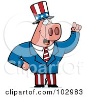 Royalty Free RF Clipart Illustration Of A Patriotic Pig
