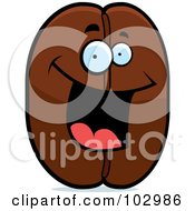 Royalty Free RF Clipart Illustration Of A Happy Smiling Coffee Bean by Cory Thoman